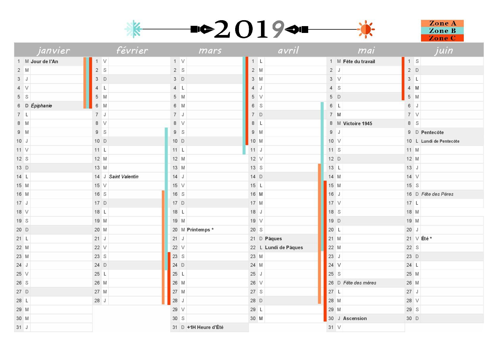 Calendrier 2020 Deuxieme Semestre.Calendrier 2019 A Imprimer Jours Feries Vacances