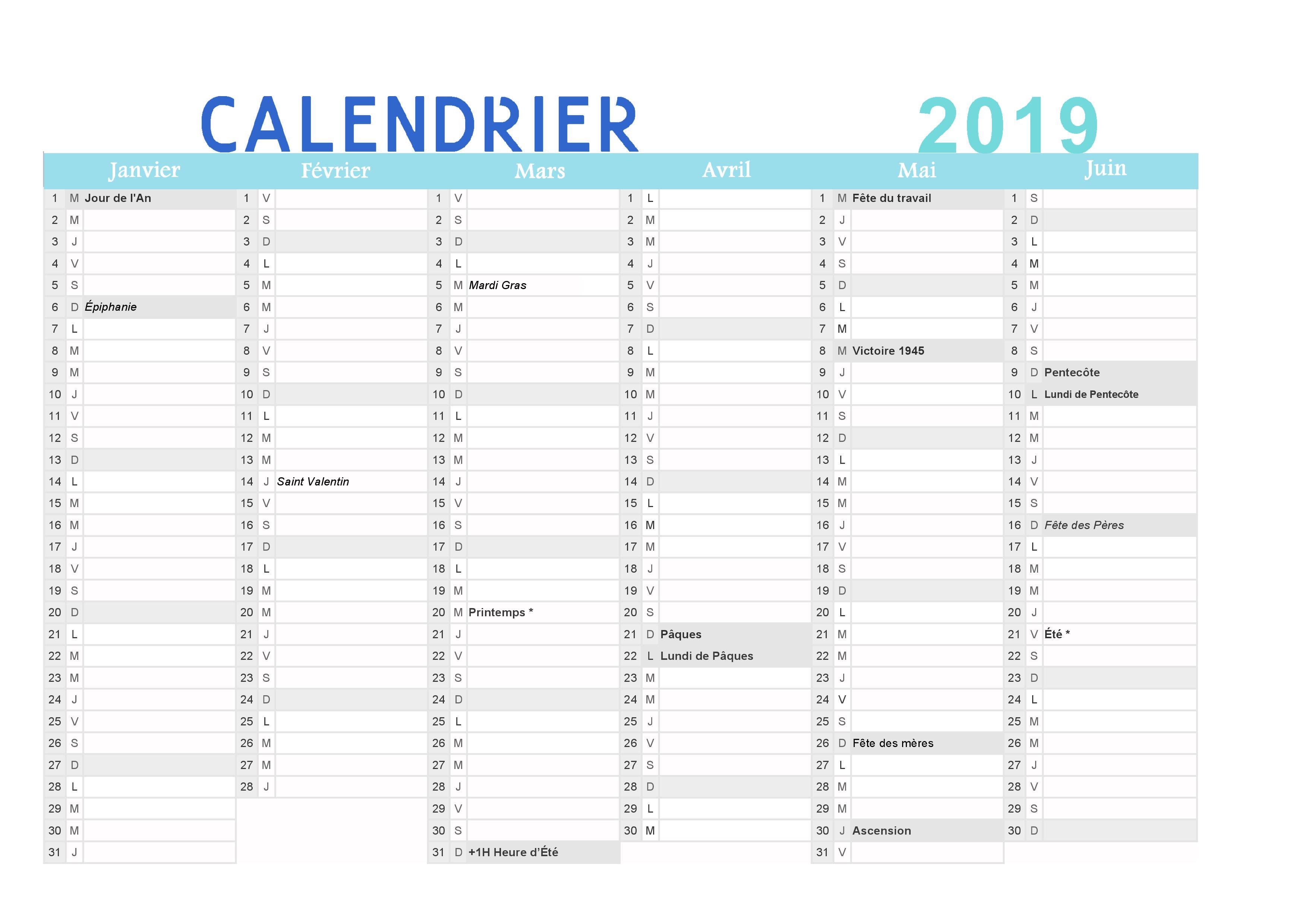 Calendrier Telecharger.Calendrier 2019 A Imprimer Gratuit Au Format Pdf