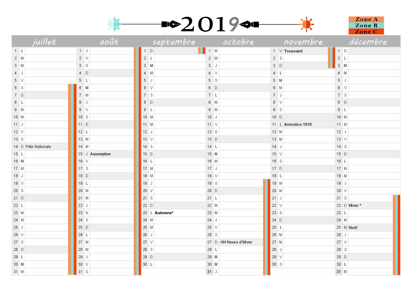 Calendrier 2019 Format Excel.Calendrier 2019 A Imprimer Jours Feries Vacances