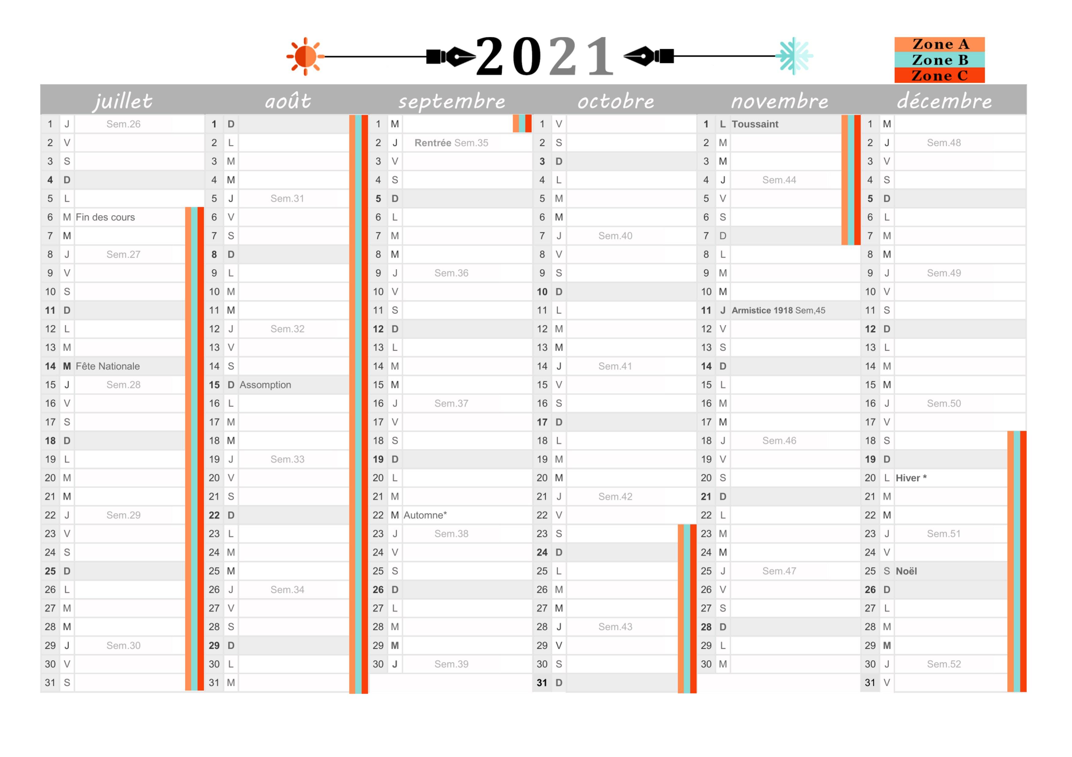 Calendrier 2021 à imprimer : Jours fériés   vacances   Calendriers