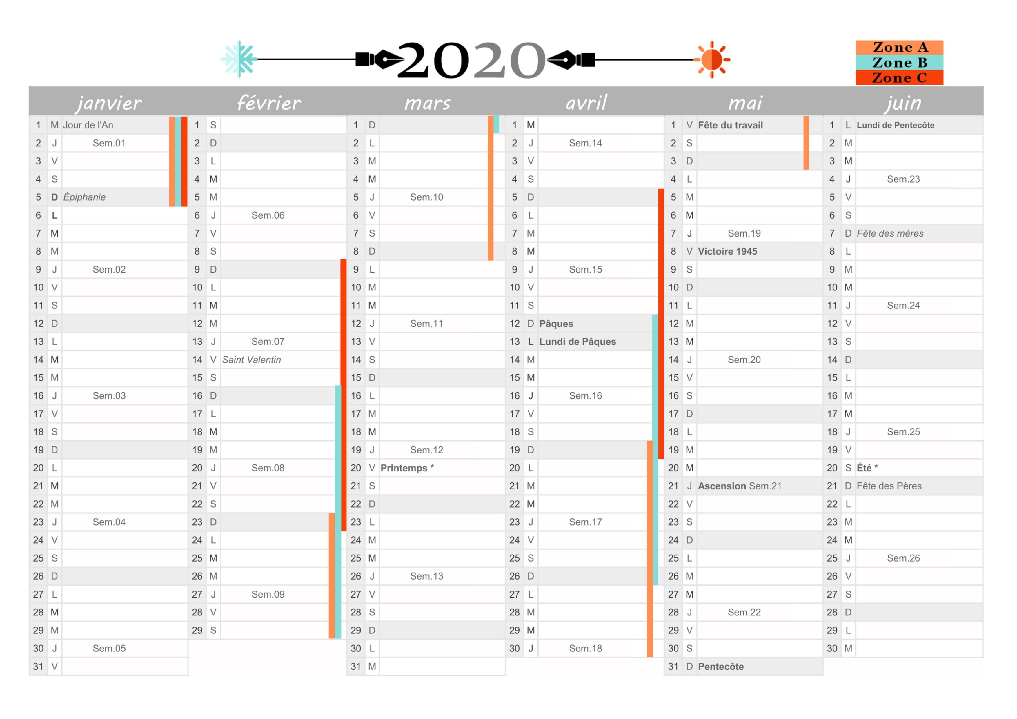 Calendrier à Imprimer 2020 Gratuit Jours Fériés Vacances