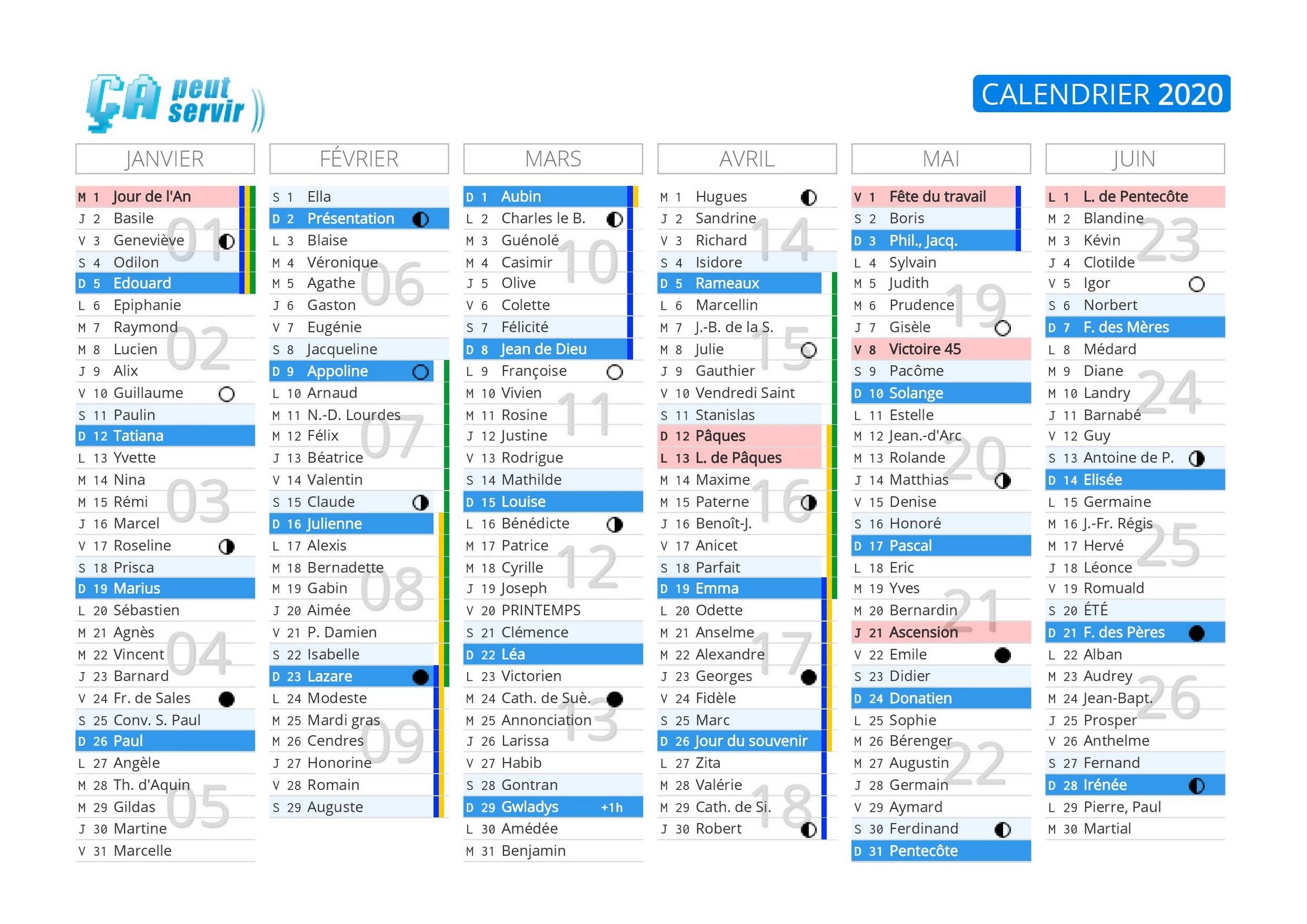 Calendrier 2021 Ca Peut Servir Calendrier 2020 à imprimer : Jours fériés   vacances   Calendriers