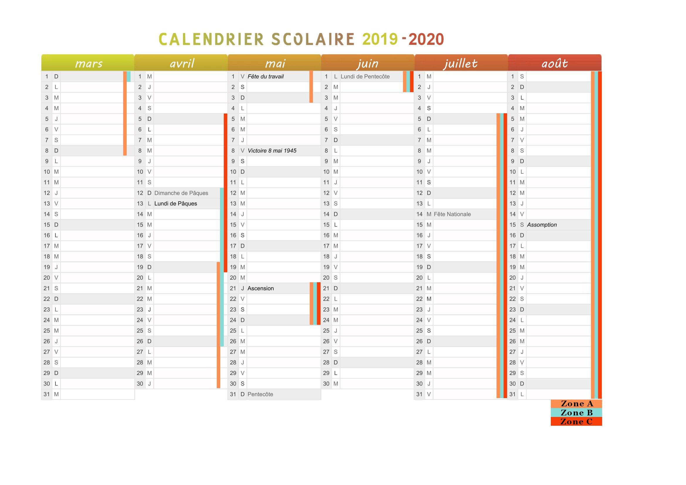 Calendrier Scolaire De 2019 Et 2020 à Imprimer