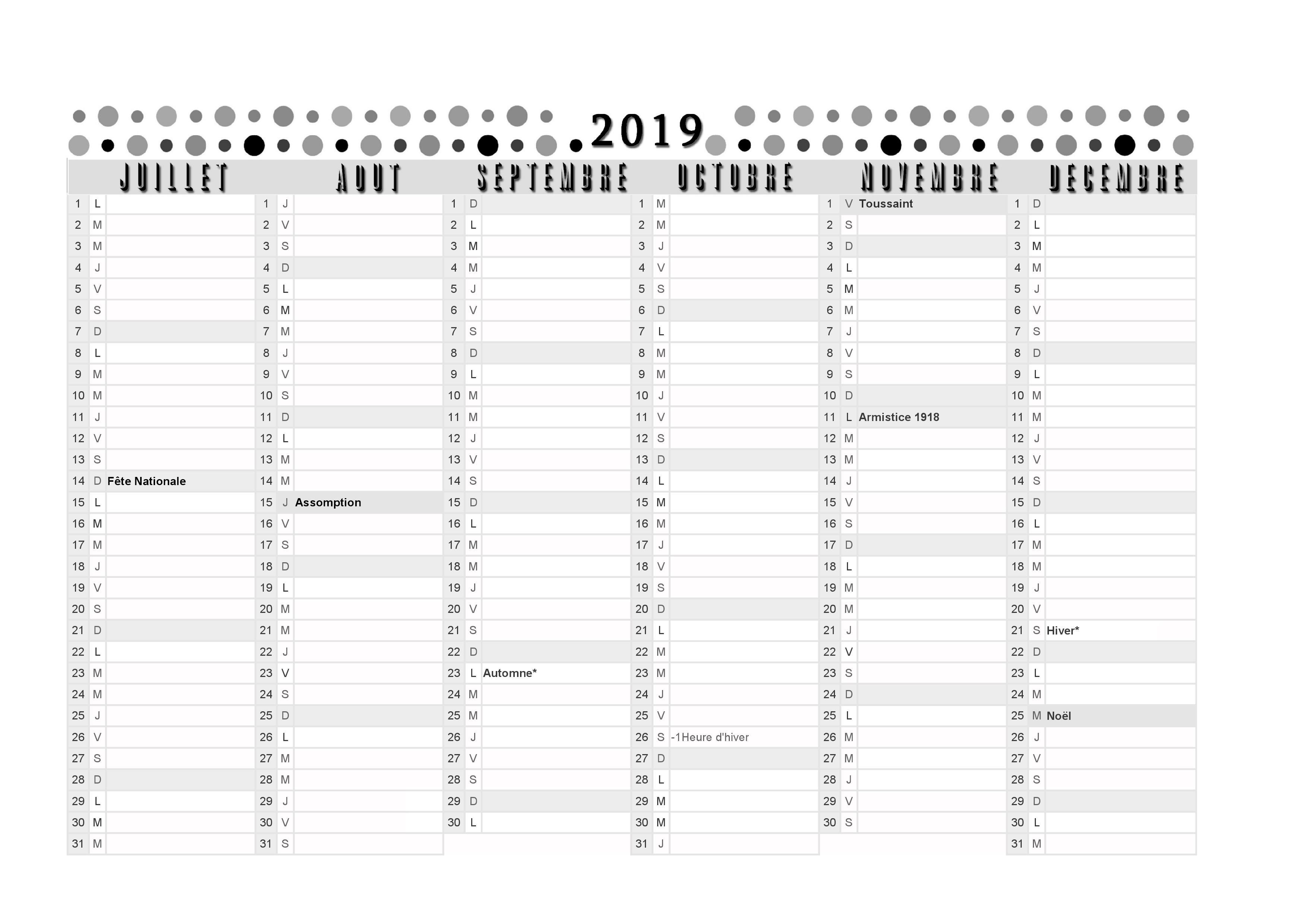 Calendrier 2019 Semestre 1.Calendrier 2019 2eme Semestre