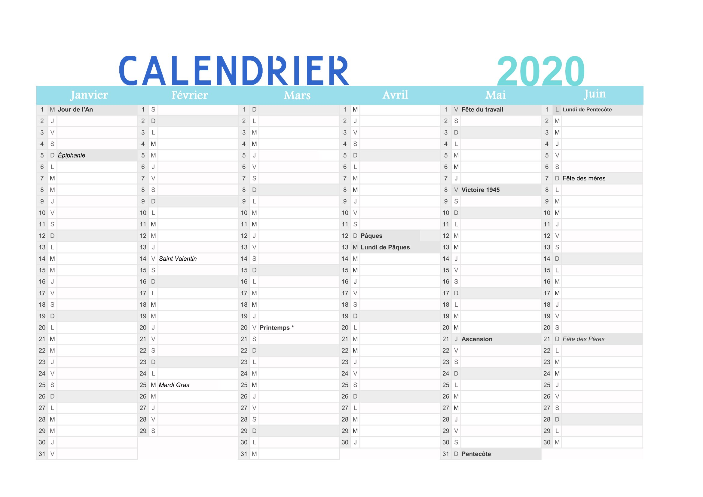 Calendrier 2020 à Imprimer Gratuit Au Format Pdf