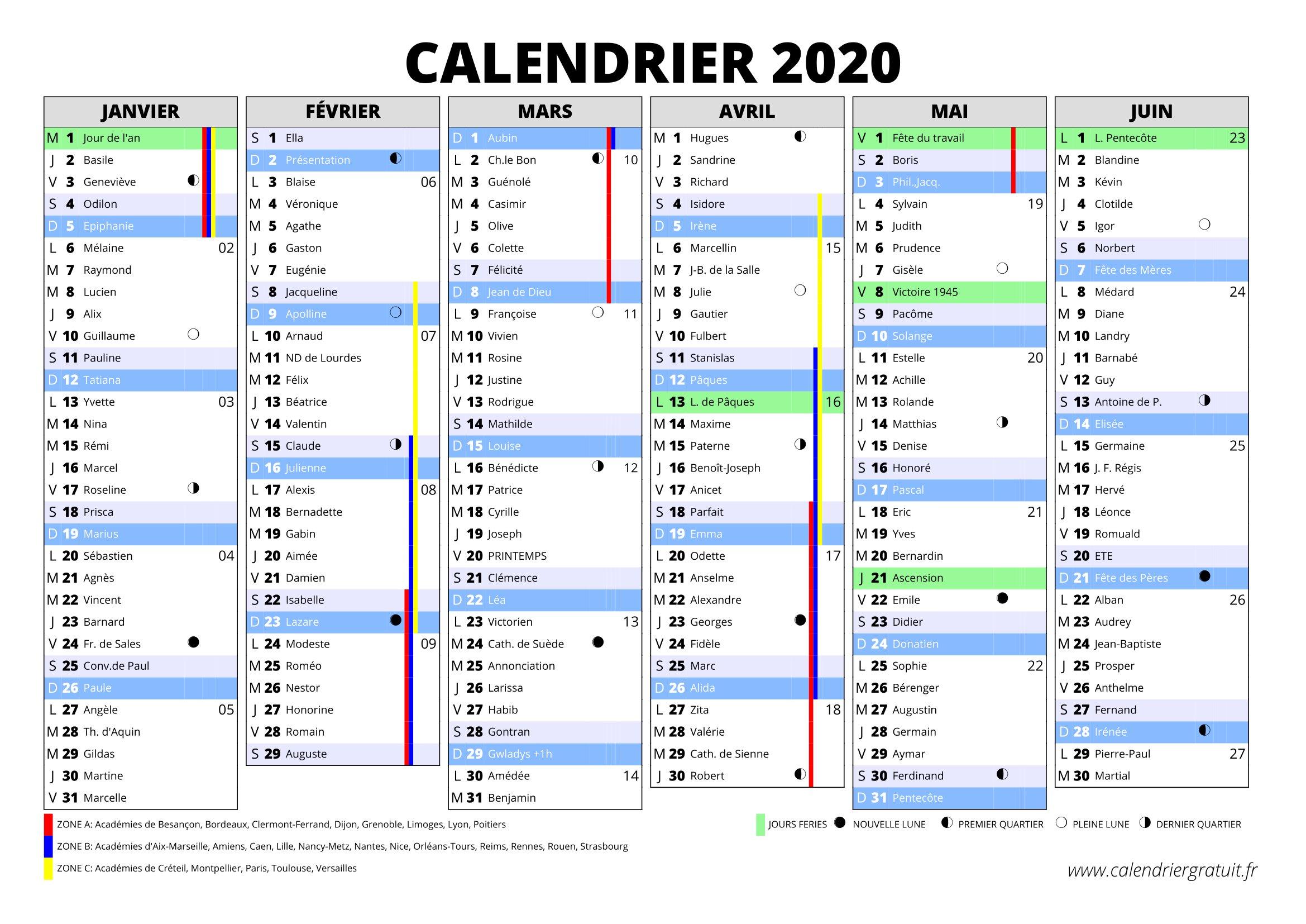 Calendrier 2020 à Imprimer Jours Fériés Vacances