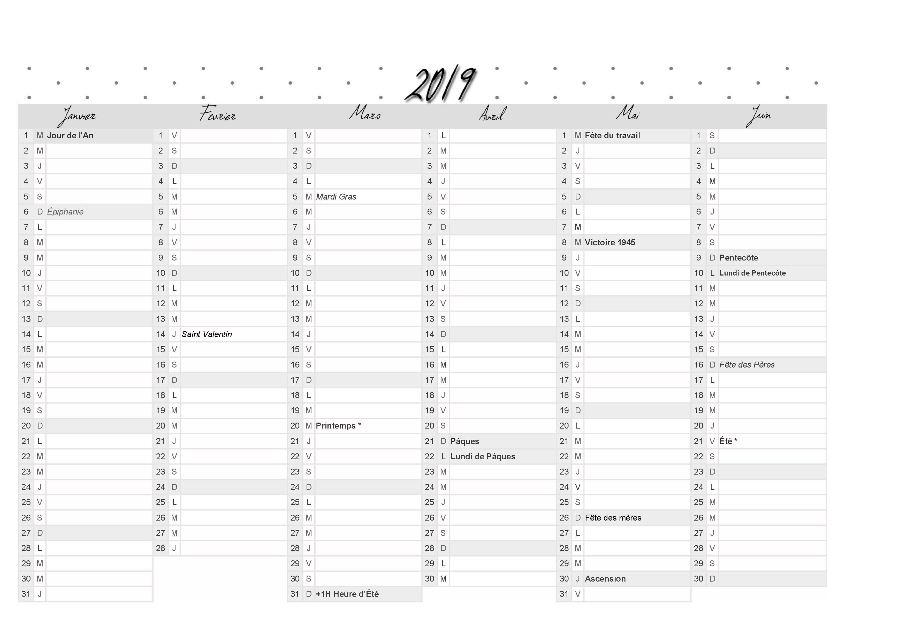 Impression Calendrier 2019.Calendrier 2019 Du 1er Et 2eme Semestre A Imprimer Theme Sandy